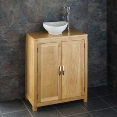 Twin door Oak Bathroom Cabinet 650mm + Small Oval Basin Set ALTA65