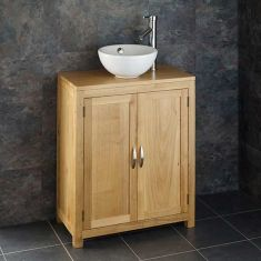650mm solid oak vanity unit with small sink and double door cupboard ALTA65