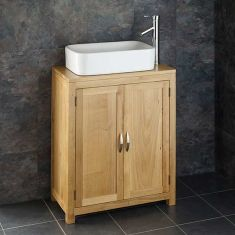 Narrow 340mm Cloakroom Oak Vanity Storage Unit + Rectangle Basin Set ALTA65