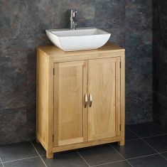 650mm Wide 340mm Deep Alta Solid Oak Two Door Slimline Cabinet With Massa Basin