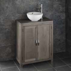 GREY WASH Cloakroom Oak Narrow 650mm Vanity Unit + Round Basin Set ALTA65G