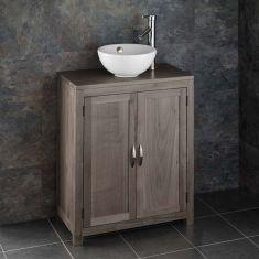 GREY WASH Cloakroom Oak Narrow 650mm Vanity Unit + Round Basin Set ALTA65G
