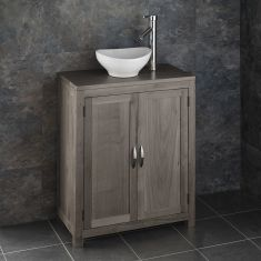 Grey Wash Oak Cloakroom Narrow 650mm Vanity Unit + Small Oval Basin Set ALTA65G