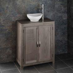 Grey Wash Oak Cloakroom Narrow 650mm Vanity Unit + Small Oval Basin Set ALTA65G