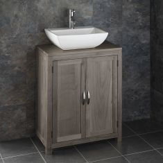 GREY WASH 650mm x 340mm  Alta Solid Oak Narrow Cabinet With Rectangle Basin ALTA65G