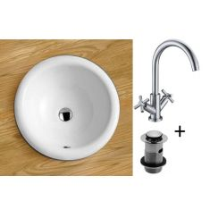 Round Inset Bathroom Basin and Tap Bundle Ceramic 420mm Diameter Sink with Chrome Tap and Waste Como
