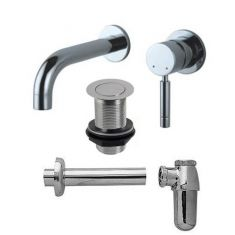 Chrome Round Wall Tap Set: Wall Tap Waste and Round Bottletrap for Basins with an Overflow