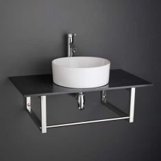 Round Bathroom Basin and Large 900mm x 500mm Black Marble Shelf Bundle Ceramic Sink with Tap Waste and Trap