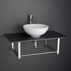 Round Basin and Large 900mm x 500mm Black Marble Shelf Bundle Ceramic 400mm Diameter Sink with Tap Waste and Trap