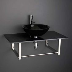 Round Bathroom Basin and Large 900mm x 500mm Black Marble Shelf Bundle Black Glass Sink with Tap Waste and Trap