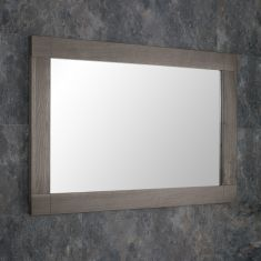 DUE END APRIL 2019 Large Grey Wash Solid Oak 900mm x 600mm Rectangle Wall Hung Mirror