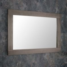 Large Grey Wash Solid Oak 900mm x 600mm Rectangle Wall Hung Mirror