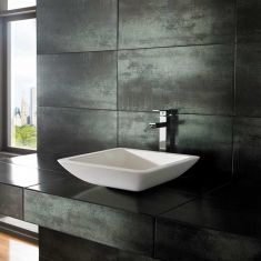 White Above Counter Square Stone Resin Bathroom Sink 425mm AGIO
