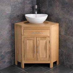 Large Oval Bathroom Basin + Double Door Oak Corner Cabinet Unit ALTAL