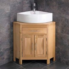 Alta Large Solid Oak Double Door Corner Bathroom Cabinet With Corner Basin