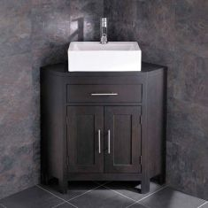 Barletta Rectangular Sink with Alta Large Two Door Wenge Oak Corner Vanity Cabinet