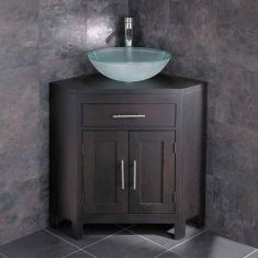 Solid Dark Oak Wenge Corner Unit with Round Frosted Basin Set ALTALW
