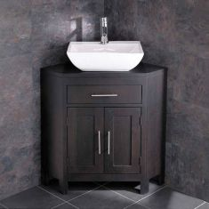 Solid Dark Oak Wenge Corner Unit with 400mm Rectangle Basin Set ALTALW