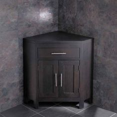 Large Dark Wenge Oak Bathroom Corner Bathroom Storage Vanity Cabinet ALTALW