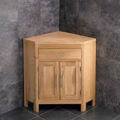 Large Bathroom Natural Oak Corner Bathroom Vanity Unit