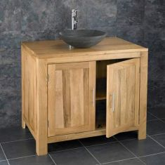 Bathroom Oak Vanity Storage Unit 900mm + Black Stone Basin Set ALTA90