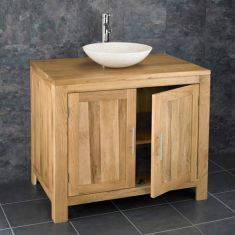 Large Oak Bathroom Storage Vanity Unit 900mm + Cream Stone Basin Set ALTA90