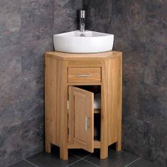 Medium corner vanity with corner basin set