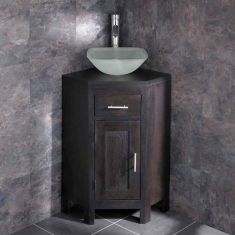 Corner Dark Oak Bathroom Unit + Square Frosted Glass Basin Set ALTASW
