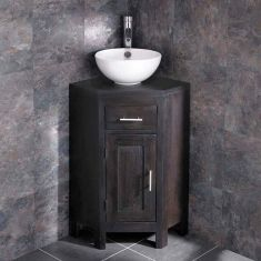 Dark Wenge Oak Corner Vanity Bathroom Cabinet + Round Bowl Set ALTASW