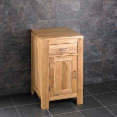 Square Single Door Solid Oak Cloakroom Vanity Storage Cabinet
