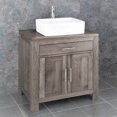 Large Two Door Oak Bathroom Vanity 750mm + Choice of Basin Set ALTA75