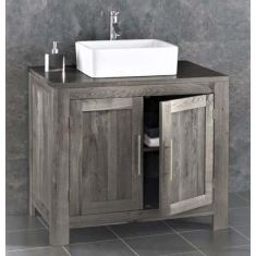 Grey Wash 900mm Solid Oak Bathroom Cabinet Bundle with Choice of Ceramic Basin Sets  Alta