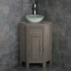 Small GREY WASH Corner Oak Vanity Unit + Round Frosted Glass Basin Bowl Set ALTASG