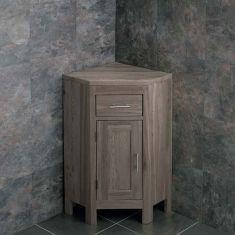 Corner GREY WASH Cloakroom Vanity Cabinet Solid Oak with Internal Shelf ALTASG