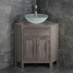 Large Bathroom Grey Wash Solid Oak Corner Bathroom Vanity + Round Frosted Basin Set ALTALG