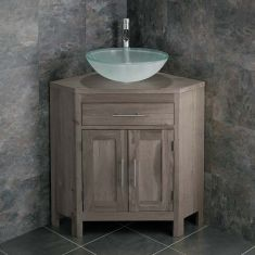 Large Bathroom Grey Wash Solid Oak Corner Bathroom Vanity + Round Frosted Basin Set ALTALG