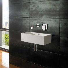 Wall Hung White Stone Resin Rectangular Basin 450mm x 250mm ALTO