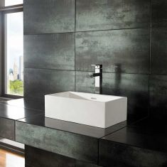 Slim Countertop Rectangle White Stone Resin 450mm x 250mm Basin ALTO