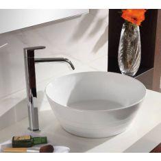 Round Ridged White Ceramic Above Counter Bathroom Bowl 385mm ASPRA