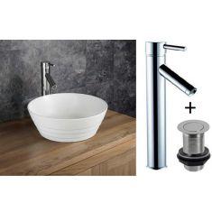 Round Countertop Bathroom Basin with Tap and Waste Bundle Ceramic 385mm Diameter Ridged Sink Aspra