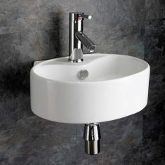 Oval White Wall Hung Cloakroom Ensuite Basin 400mm x 300mm BITONTO