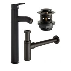 Tall Tap Waste and Bottle Trap Bundle in Matte Black Slotted Tap for Basins with an Overflow