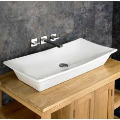 Above Counter Modern Large Rectangle Bathroom Basin 800mm x 390mm CAPRI