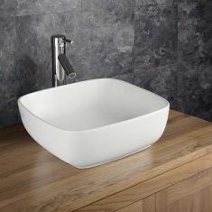 Counter Top Square Curved Corners Freestanding Ceramic Bathroom Basin 400mm CORTA