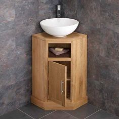 Cube corner oak vanity with large round sink