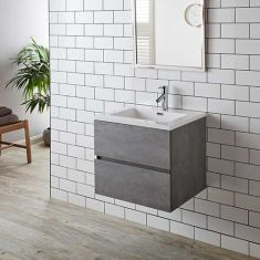 Grey Ash Two Drawer Wall Hung Vanity Cabinet with Basin Set 600mm DECO