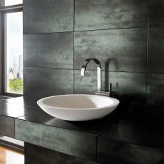 Above Counter Freestanding Large Round Stone Resin Basin 515mm DEVA