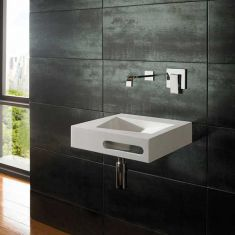 Wall Hung White Stone Resin Square Modern Bathroom Basin 400mm DUNE