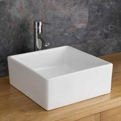 Small Square Free Standing White Bathroom Sink 370mm x 380mm FIRENZE