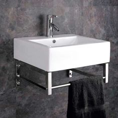 Wall Hung Ceramic Belfast Style Bathroom Basin with Stainless Modern Mount GENOA